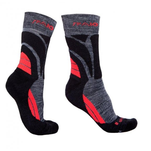 Trekking socks MERINO WOOL - Black / Red