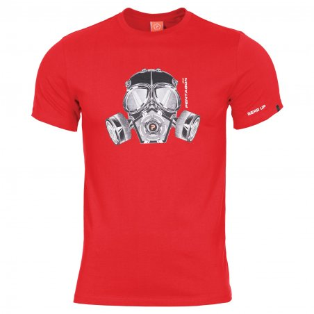 Pentagon T-shirt AGERON - Gas Mask - Lava Red
