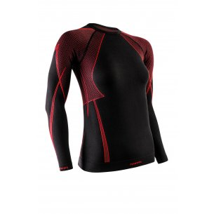 OPTILINE Women's long sleeve shirt (OPT 2007) - Black / Red