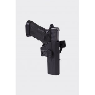 Release Button Holster for Glock 17 with Molle Attachment - Military Grade Polymer - Black