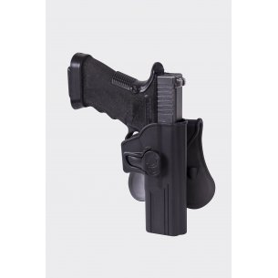 Release Button Holster for Glock 17 with Paddle - Military Grade Polymer - Black