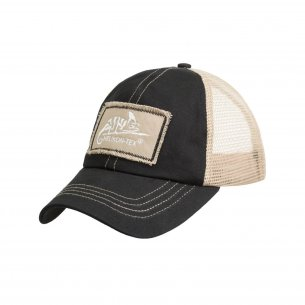 Helikon-Tex® Trucker Logo Cap - Cotton Twill - Black / Khaki A