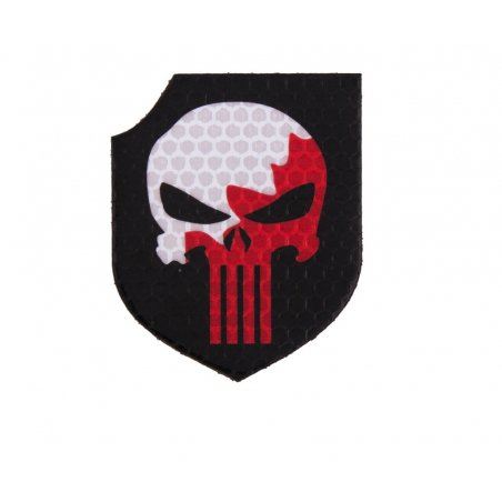 Combat-ID Velcro patch - Punisher Shield (TP-CZB) - White - Red