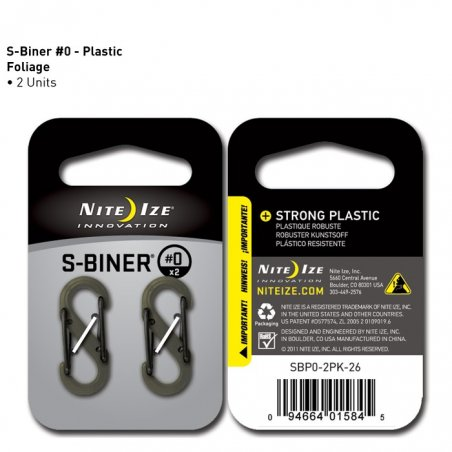 S-Biner SIZE  0 (SBP0-2PK-26) - 2 Pack - Plastic - Foliage Green