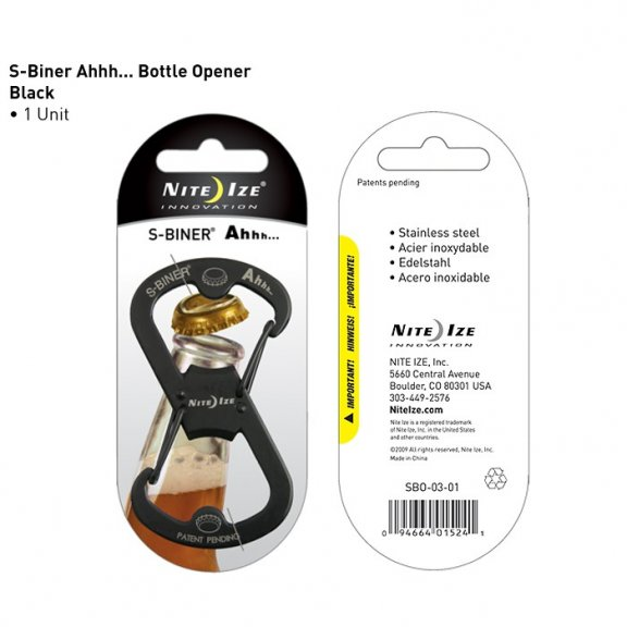 Nite Ize® S-Biner Ahhh Bottle Opener (SBO-03-01) - Stainless Steel - Black