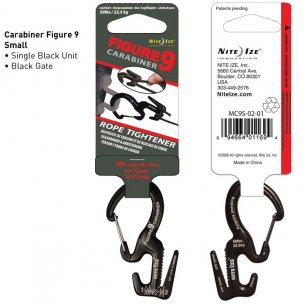 Nite Ize® Figure 9 Carabiner Small (MC9S-02-01) - Aluminum - Black - Black Gate