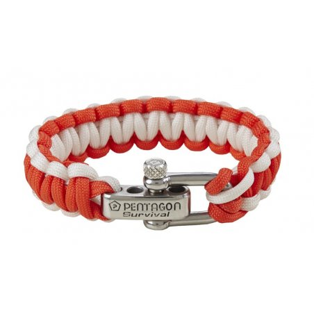Pentagon Tactical Survival Bracelet - Orange-White