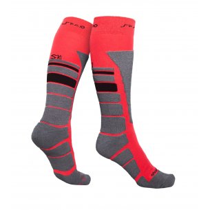 Spaio Thermo Ski socks THERMOLITE - Black / Grey / Red