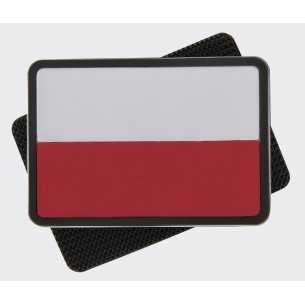 Polish flag PVC velcro patch - White / Red