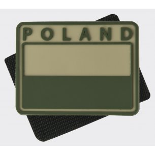 Helikon-Tex® Polish flag PVC velcro patch ( Subdued ) - Poland - Beige / Khaki