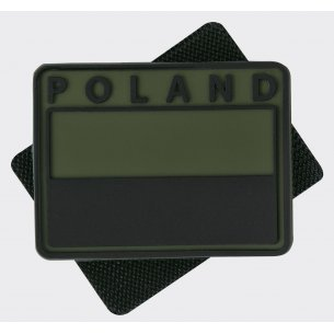 Polish flag PVC velcro patch ( Subdued ) - Poland - Olive Green