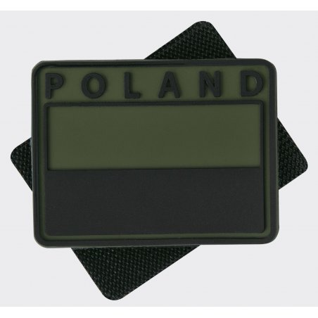 Helikon-Tex® Polish flag PVC velcro patch ( Subdued ) - Poland - Olive Green