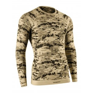 Tervel OPTILINE DIGITAL Men's long sleeve shirt (OPT 1006) - Sand / Grey