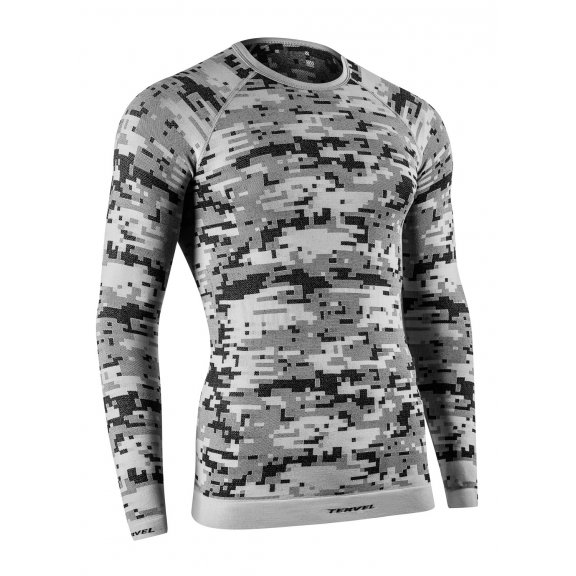 OPTILINE DIGITAL Men's long sleeve shirt (OPT 1006) - Silver / Grey